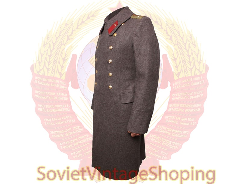 Soviet Military everyday Officers brown overcoat Russian Army Brown woolen coat