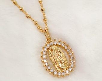 Virgin Mary Necklace, religious jewelry, Guadalupe, Virgen de Guadalupe, catholic gifts, catholic jewelry, Guadalupe necklace