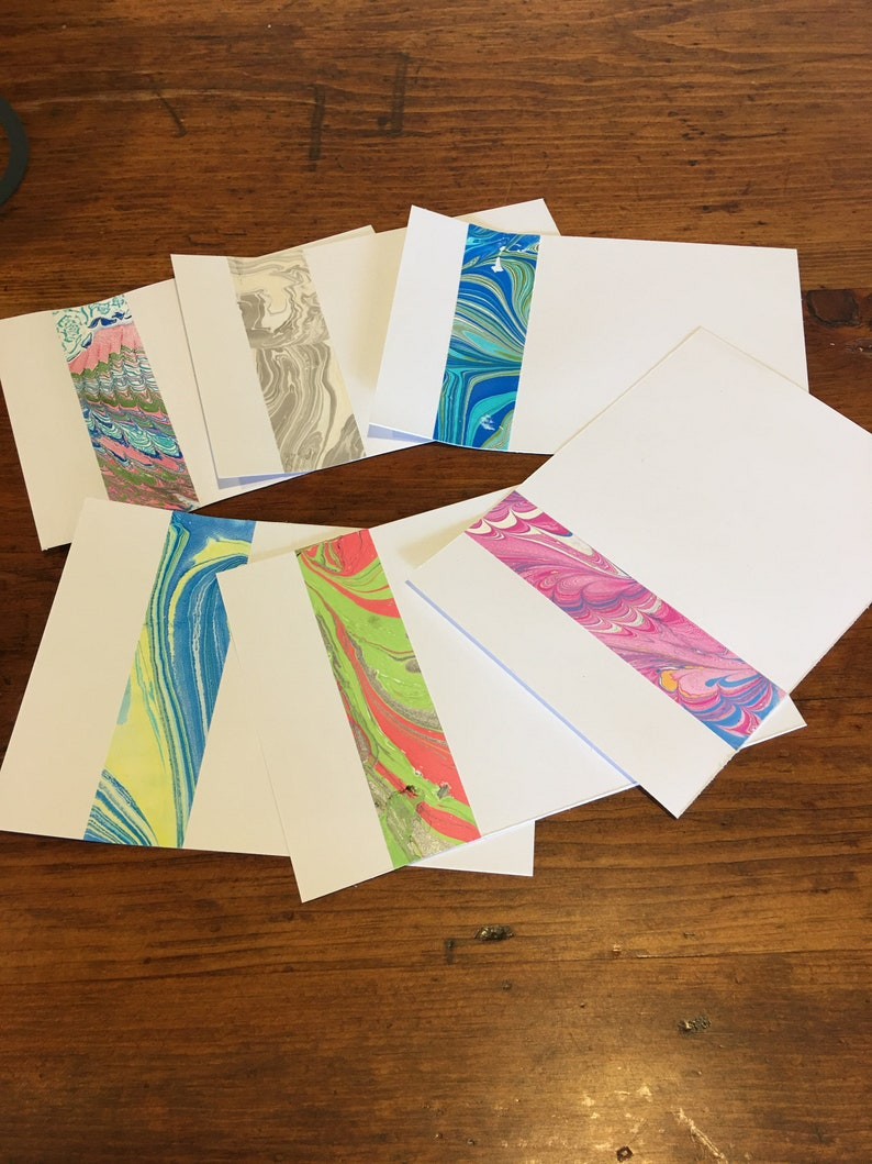 Set of 6 Notecards hand marbled paper decorative edging