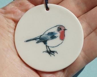 ROTKEHLCHEN Porcelain Pendant Decoration & Gift Tag