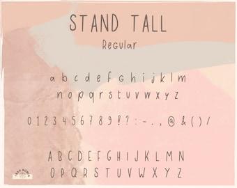 Stand Tall Downloadable Font   .ttf .otf files   Sans Serif   Handwriting   Tess Robin Shop