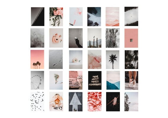 Pretty Aesthetic Pink Grey Collage Wall Photo Kit Printable Etsy