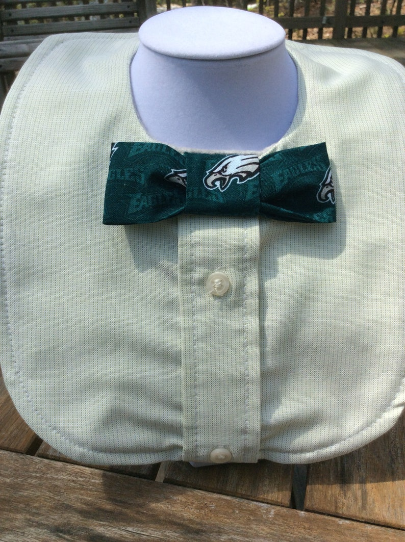 Phillies and Flyers boys  3 bib set handmade from  upcycled  men\u2019s  shirts with accent team fabric bow ties and tie.\u201d Philadelphia Eagles