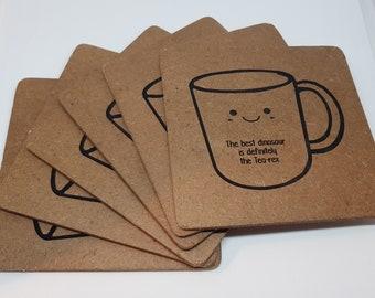 Coaster mug with tea puns, set of six