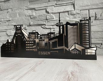 Skyline Essen Schwibbogen, electric arc, silhouette with LED lighting
