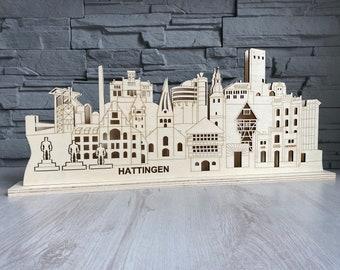 Skyline Hattingen, Schwibbogen, Lichtbogen, Silhouette with LED lighting