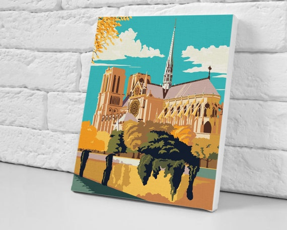 Colorful Oil Painting For Adults Pop Art Paint By Numbers DIY Kit Paint On Your Own Wall Art City Home Decoration Framed Oil Architecture Painting