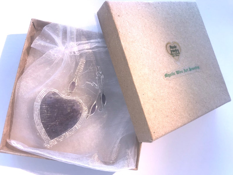 Wire coiled Earrings /& Necklace in 925 Sterling Silver Natural Unheated Amethyst Geode Heart with Faceted Amethysts