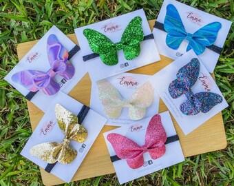 Butterfly hair bows Newborn bow headband Baby girl hair bow Blue butterfly bow Butterfly headband Girls hair bows Toddler bow headband