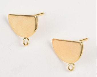 6pcs Brass Earring Charms Earring Supply Half Round Shape Earring connector-Earring findings-jewelry supply 15mm*8mm CT2194