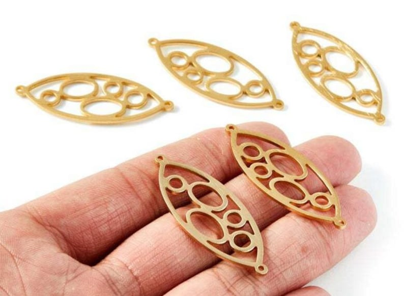 22mm LL1132A 6pc Aluminum Alloy Plated Gold Earring Earring Supply Oval Shaped Earring connector-Earring finding-jewelry supply 31mm