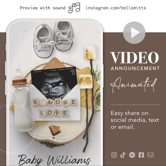 SMORE Video Fall Pregnancy Announcement Baby Personalized