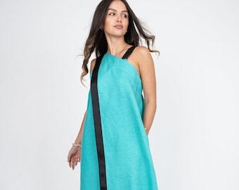 Linen Apron Dress/Linen Lounge Dress/Linen Sleeveless Dress/Flax Dress/Linen Pinafore Dress/Linen Boho Dress/Linen Summer Dress/AE339