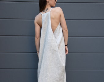 Kaftan Maxi Dress/Linen Caftan/Linen Maxi Dress/Flax Dress/Loose Linen Dress/Full Length Dress/Beach Kaftan/Linen Robe/Open Back Dress/AE235