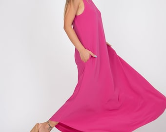Evening Dress/Fuchsia Dress/Blouson Dress/Bridesmaid Dress/Boho Wedding Dress/Prom Dress/Halter Long Dress/Vintage Dress/Maxi Dress/AE335