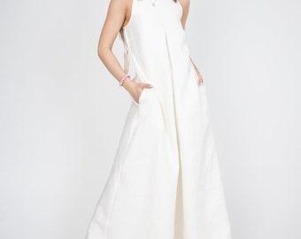 Linen Summer Dress/Kaftan Maxi Dress/Linen Sleeveless Dress/Flax Dress/Linen Wedding Dress/Linen Gown/Linen Maxi Dress/Flowing Dress/AE312