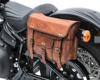 Motorcycle Side Pouch 1 Bag Brown Leather Round Pouch Saddle bags Panniers New