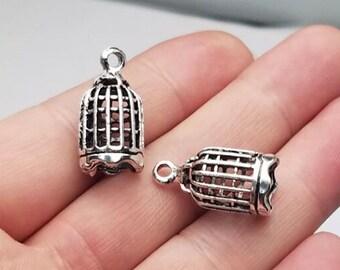 alloy birdcage charm Bulk 100 pcs of double sided antique silver birdcage pendant 19x12mm