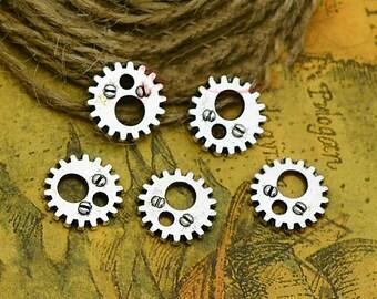 BULK 100 Gear Charms Antique Silver Tone Steampunk 5-1506