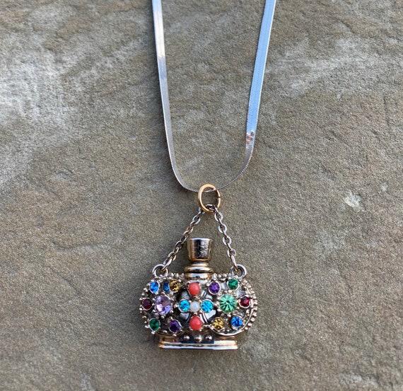 Mid Century Jeweled Perfume Flask Charm Necklace