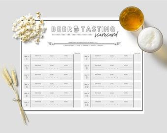 PRINTABLE: 12 Beer Tasting Scorecard / Score Sheet