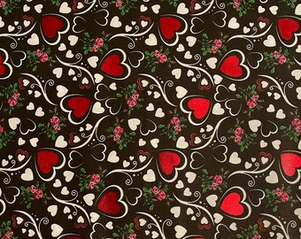 Vintage Heart Fabric 1 34 Yards Red Fabric with White Hearts Sewing Project Yardage Cotton Valentine/'s Day