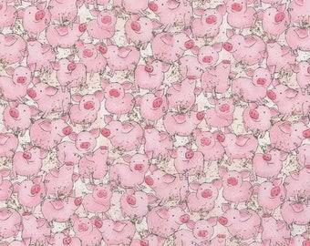 Animal Fabric, Cotton Fabric, Pigs Fabric, Pink Fabric, Fabric,