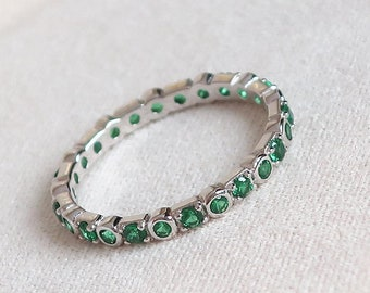 Solid 925 Sterling Silver EMERALD green stacking beading Bracelet  Made in UK