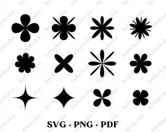 Modern Stars svg, Flower petals svg, Stars Pattern, Modern Shapes, Cricut Files, Art Deco Shapes, Boho Abstract Shapes. Instant Download.