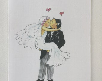 Bride and Groom Nose to Nose Handrawn Pen and Ink Handpainted WatercolourFREE POSTAGE /& PERSONALISATION
