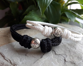 Paracord bracelet Paracord bracelet,Nature Lovers gift Yin Yang Sterling silver Adjustable wrap bracelet made from Two real Olive leaves