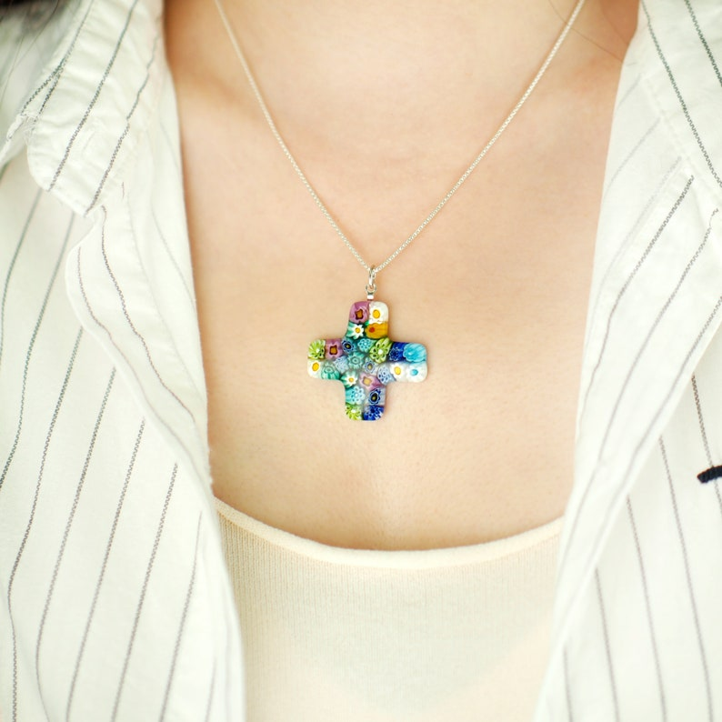 Floral Greek Cross Pendant Handmade Murano Glass Art Millefiori Necklace for Women Lady Girl as a birthday gift jewelry