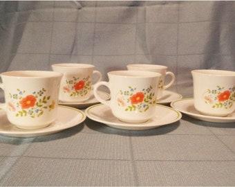 8 Vintage Centura by Corelle Coffee Cups Lynwood Design