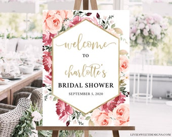 Any Event Blush Gold Floral Drive by Baby Shower Welcome Sign Template Reception Greet Guests Printable Poster Board DIY Template VR164WSB
