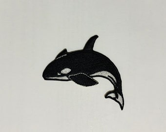 Black//White Killer Whale Orca Iron on Applique//Embroidered Patch