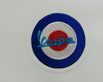 Lambertta Mod Scooter shooting Flag Vespa Embroidered Iron on Sew on Patch Badge
