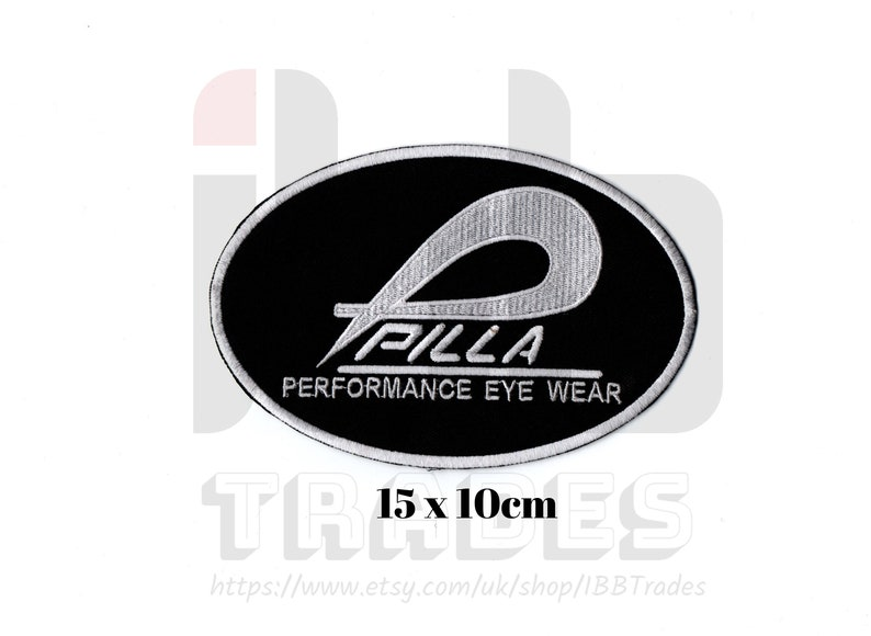 Pilla Sports performance eyewear Customise Embroidered IronSew On Patch Badge Fancy Transfer Jacket Jeans Bag