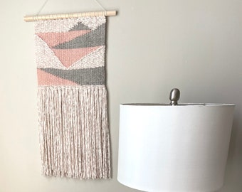 Pink and White Geometric Wall Hanging