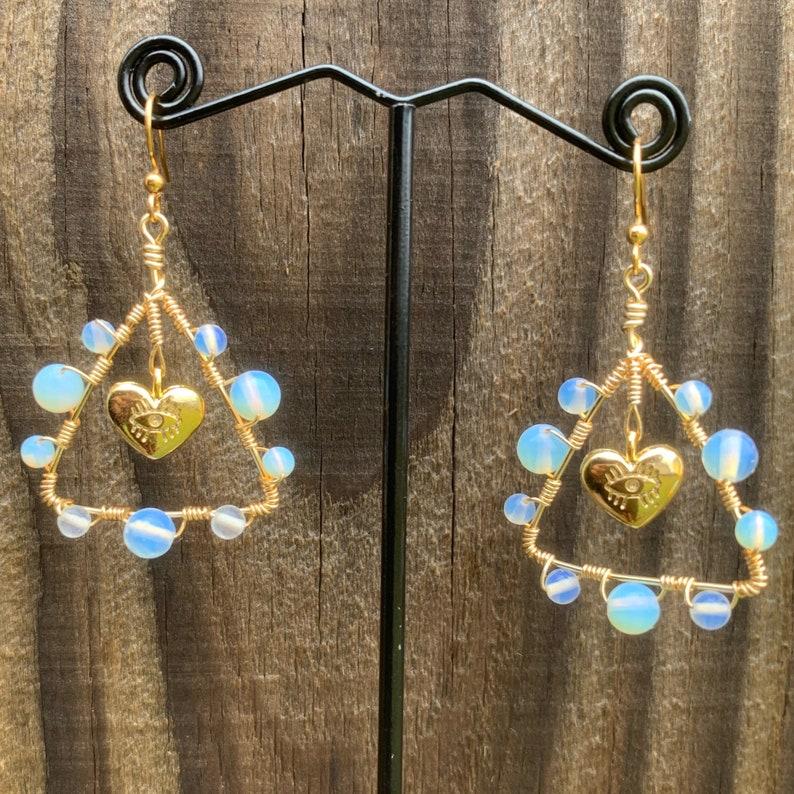 Triangle Evil Eye Heart Charm Opalite Earrings