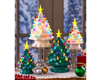 Perfect Lighted Retro Tabletop Christmas Tree Classic Best Bubble Night Lights Decoration Beautiful Ceramic Colorful Bulbs Battery Operated