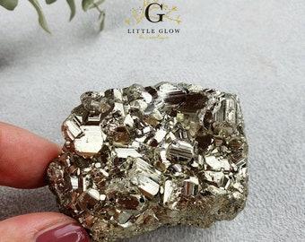 sparkling pyrite crystal step, minerals, Peru, weight: 159 g, width 6.5 cm