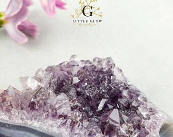 beautiful amethyst crystal step from Uruguay, width: 8 cm, 216 g