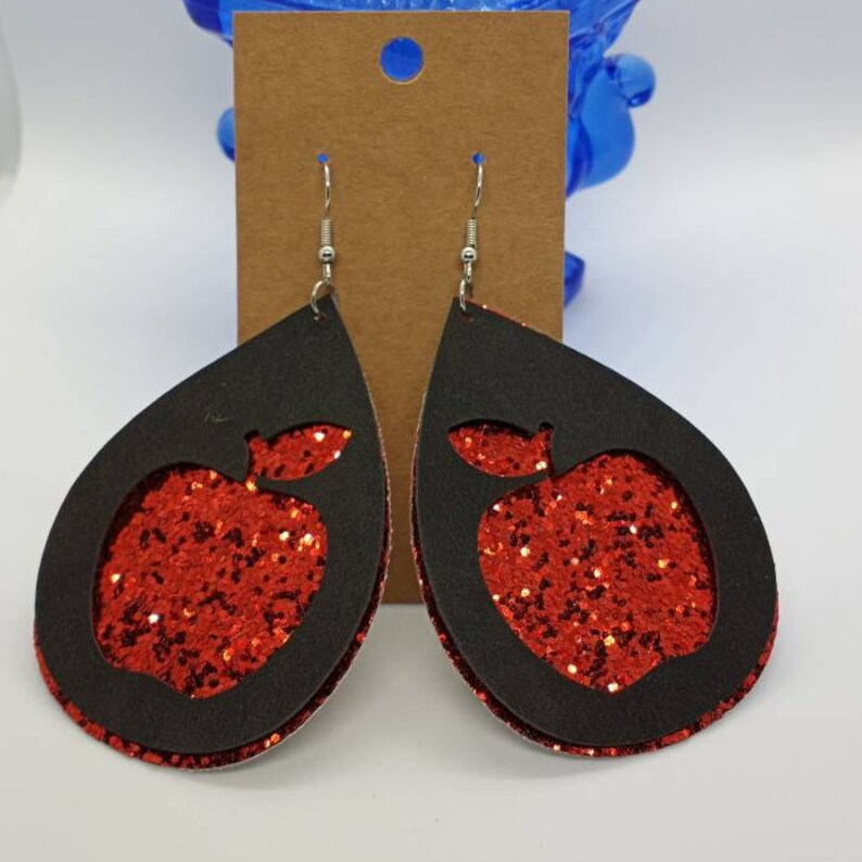 Big Apple Faux Leather Teardrop Earrings 2 Layer Apple Cut Out Earrings