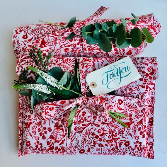 Fabric Gift Wrapping - Small or large Red and White/Blue and White Bird Design