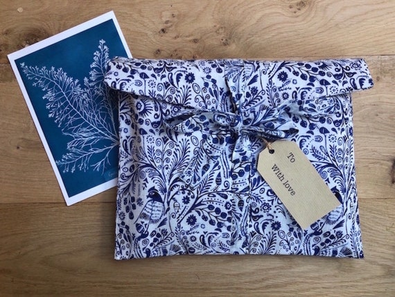Fabric Gift Bag - Reusable, long life, Bird Design - blue and white/red and white