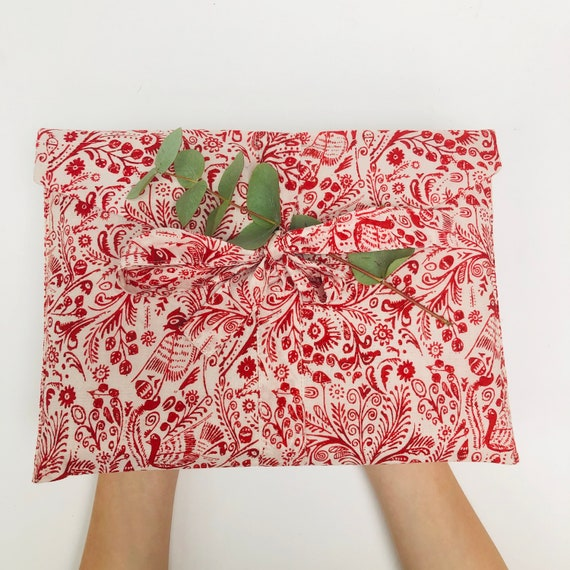 Christmas Fabric Gift Wrap - Red and White/Blue and White Bird Design