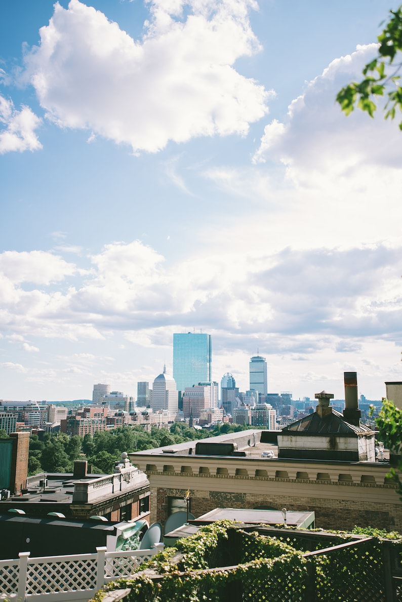 home decor print downtown boston from beacon hill cityscape wall art landscape print summertime