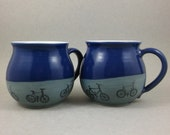 very large ceramic cup with bicycles, jumbo cup, bic cup