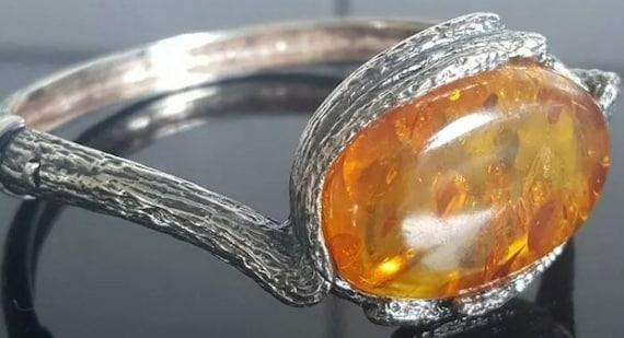 Antique Art Deco/Art Nouveau Silver Amber Bracelet