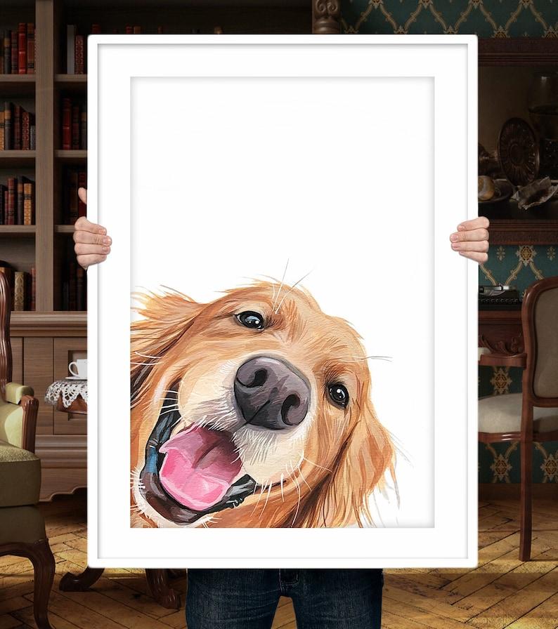 Gifts For Golden Retriever Owners - Custom Golden Retriever pet portrait.
